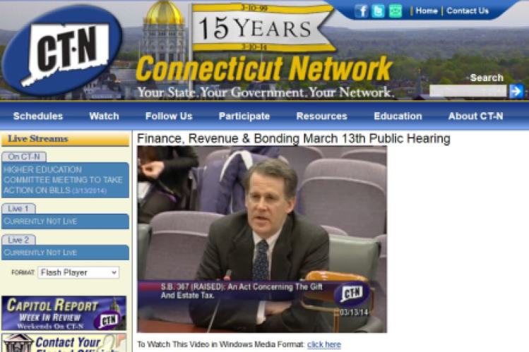 Mark Pruner testifying to the Connecticut Finance Committee