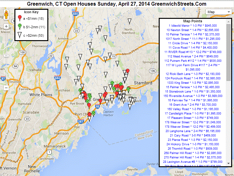 79 Open Houses in Greenwich, CT on April 27th