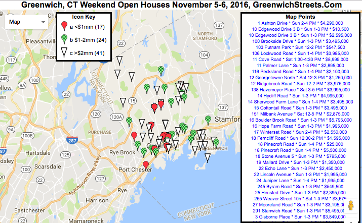 Greenwich Open Houses for Nov. 5 and Nov. 6th.